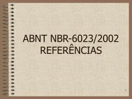 ABNT NBR-6023/2002 REFERÊNCIAS