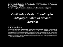 AULA cânone literário - PÓS UCP-IPETEC - 10.2014