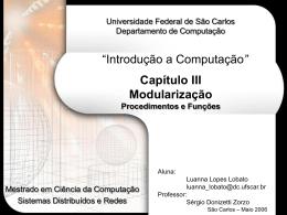 end - Departamento de Computação - Universidade Federal de São