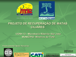 PROJETO DE RECUPERAÇÃO DE MATAS CILIARES