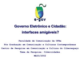 Governo e cidadão: interfaces amigáveis?