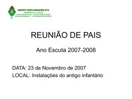 REUNIÃO DE PAIS Ano Escuta 2007-2008 - A Cabana do 510