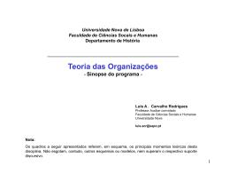 Teoria das Organizações - Universidade Nova de Lisboa
