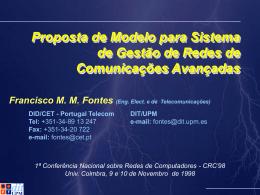 Proposta de Modelo para Sistema de Gestão de Redes de