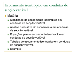 Escoamento isentrópico em condutas de secção variável