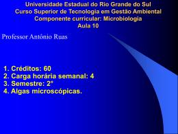 I. Algas microscópicas e sua importância nutricional, como agentes