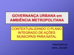 Governança Urbana em Ambiência Metropolitana