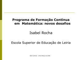 Formação Contínua em Matemática para Professores do 1º
