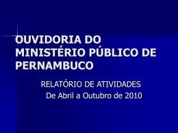 OUVIDORIA DO MINISTÉRIO PÚBLICO DE PERNAMBUCO