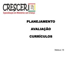 Planejamento, Avaliação e currículo (NOVO)