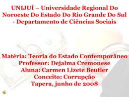 Corrupção - Capital Social Sul