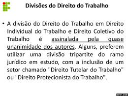 DIVISÕES DO DIREITO DO TRABALHO