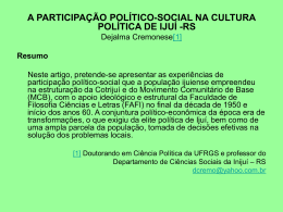 PADRÕES DE PARTICIPAÇÃO POLÍTICO