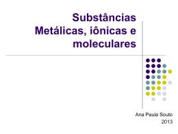 Substâncias Metálicas, iônicas e moleculares