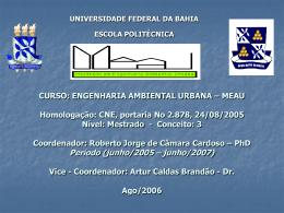 CURSO: ENGENHARIA AMBIENTAL URBANA