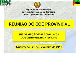 Reuniao do coe Zambezia COE _21 02 2013