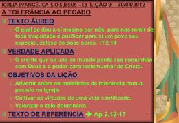 30/04/2012 a tolerância ao pecado