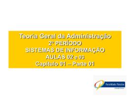 Teoria Geral da Administração - Cap. 01