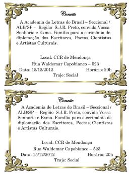 Convite - Academia de Letras do Brasil