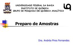 Aula_3_Preparo de amostras - Universidade Federal da Bahia