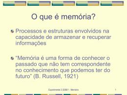PPB1 Aula 07 27/09/2005 Memória