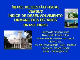 índice de gestão fiscal x índice de desenvolvimento humano