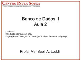 Banco de Dados II - Aula 2