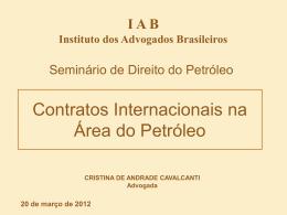 Apresentação da palestra - Dra. Cristina de Andrade Cavalcanti