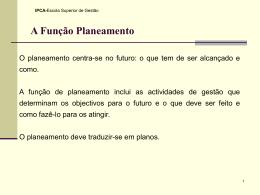 IV- Função Planeamento