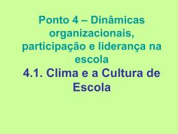 Ponto 4 – Dinâmicas organizacionais, participação e liderança na