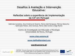 Desafios à Avaliação e Intervenção educativa