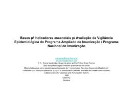 Indicadores essenciais da Vigilância epidemiológica do PAI