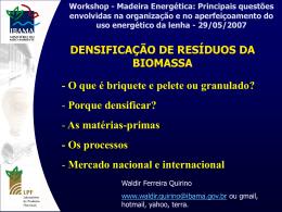 Densificação de Resíduos da Biomassa