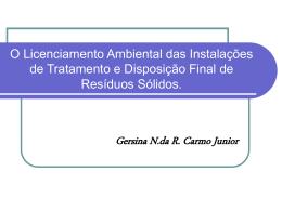 O Licenciamento Ambiental - Departamento de Engenharia Ambiental
