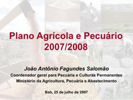 Plano Agrícola e Pecuário 2007/2008 João Antônio