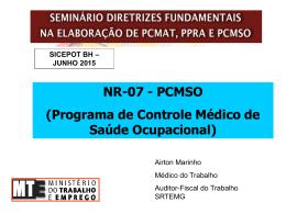 PCMSO (Programa de Controle Médico de Saúde - sicepot-mg