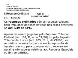 I. Recurso Ordinário