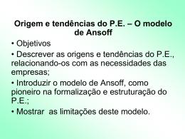 P.E - modelo Ansoff