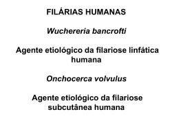 FILÁRIAS HUMANAS Wuchereria bancrofti Agente etiológico da