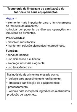 Água e Detergentes na Indústria de Alimentos