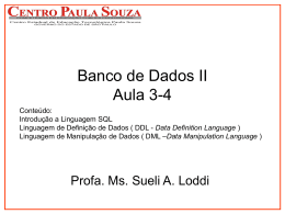 Banco de Dados II - Aula 3