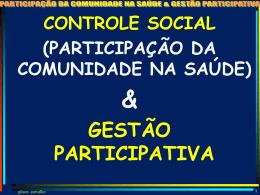 (participação da comunidade na saúde) & gestão