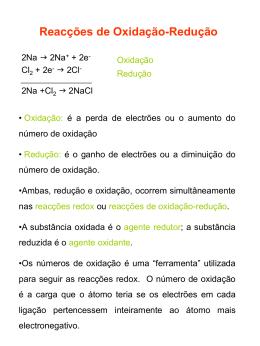 Reacções de Oxidação