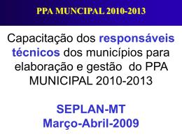 Capacitação para PPA municipal cenário e receita