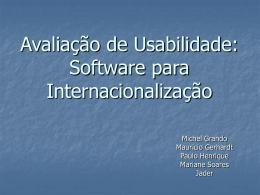 Avaliação de Usabilidade: Software para Internacionalização