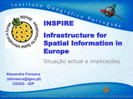 INSPIRE - infrastructure for spatial information in Europe Situação