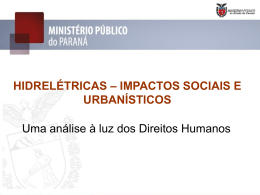 HIDRELÉTRICAS – IMPACTOS SOCIAIS E URBANÍSTICOS