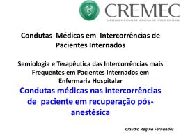 Condutas médicas nas intercorrências de paciente em recuperação