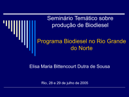 Programa nacional do Biodiesel no Rio Grande do Norte