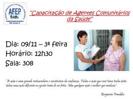 """""""Capacitação de Agentes Comunitários da Saúde"""""""